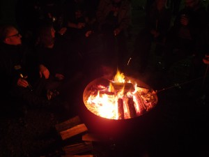 Nighttime bonfire with people