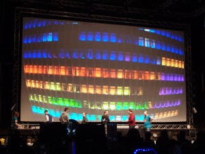 The winner of the Wild compo, with their gigantic RGB LED display made from a building facade